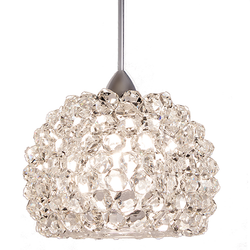 Gia Brushed Nickel One-Light Mini Pendant with Clear Diamond Crystals