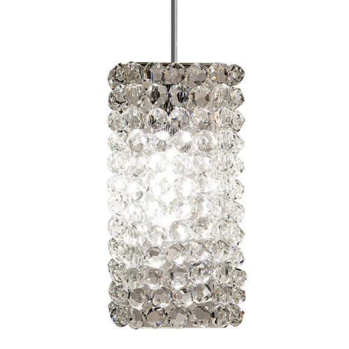 Haven Brushed Nickel One-Light Mini Pendant with Clear Diamond Crystals