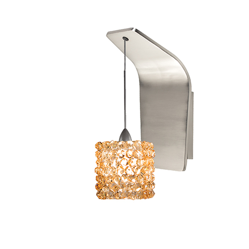 Wac Lighting Mini Haven Brushed Nickel Led Pendant Wall Sconce With Champagne Diamond Gl