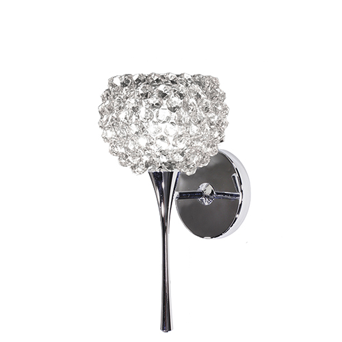 Gia Chrome LED Torch Wall Sconce with White Diamond Eternity Glass