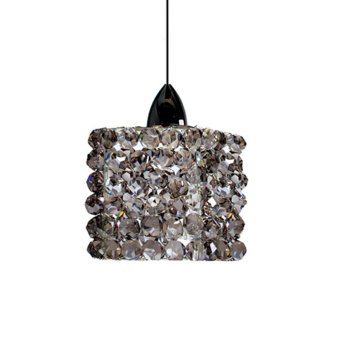 Mini Haven Chrome LED Mini Pendant with Black Ice Crystals