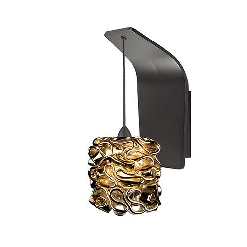 Candy Rubbed Bronze LED Pendant Wall Sconce with Gold Glass