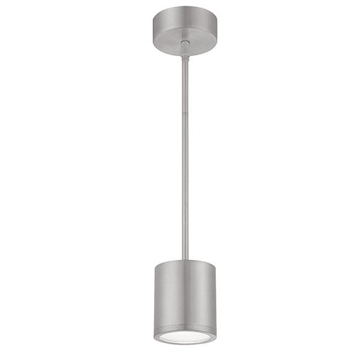 Tube Brushed Aluminum Energy Star LED Pendant with White Glass Diffuser