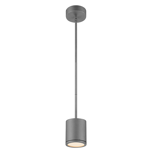 Tube Graphite Energy Star LED Pendant with White Glass Diffuser