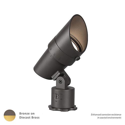 Bronzed Brass Adjustable Beam and LED Output Line Voltage Landscape Accent Light