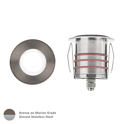 Bronzed Stainless Steel Low Voltage LED Round Landscape Indicator Light