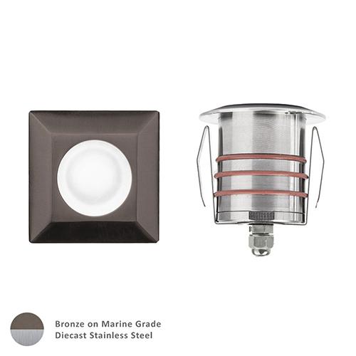 Bronzed Stainless Steel Low Voltage LED Square Landscape Indicator Light