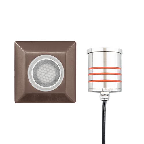Brass Low Voltage LED Three-Inch Landscape Square Indicator Light