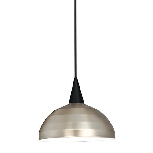 WAC Lighting Felis H Series Black Mini Pendant with Cone Socket and Brushed Nickel Shade