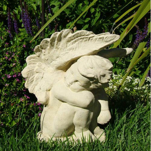 Designer Stone Classic Crying Angel Cast Stone Statue