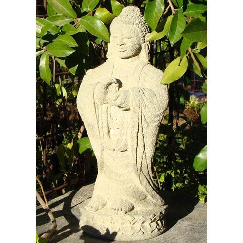 Designer Stone Classic Standing Buddha Cast Stone Statue