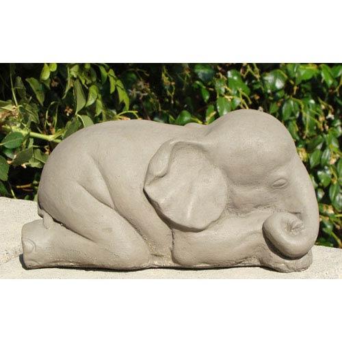 Designer Stone Antique Sleeping Elephant #1 Cast Stone Statue