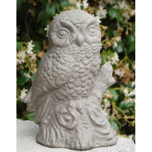 Designer Stone Antique Small Perched Owl Cast Stone Statue