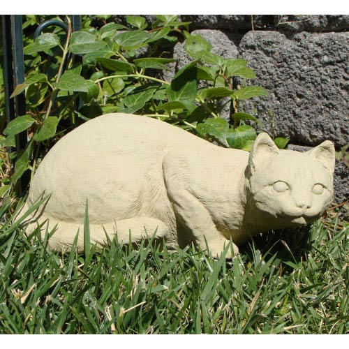 Designer Stone Classic Crouching Cat Cast Stone Statue