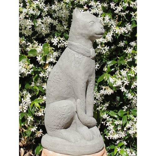 Designer Stone Antique Bastet Cat Cast Stone Statue
