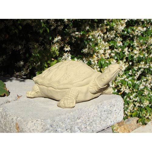 Old Stone Large Painted Turtle Cast Stone Statue