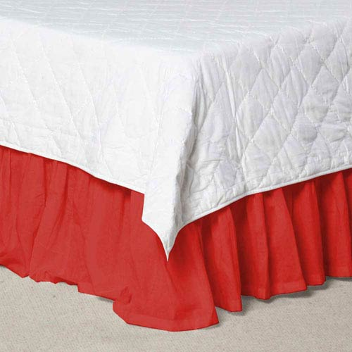 Patch Magic Red - Bright Solid Fabric Dust Ruffle Queen