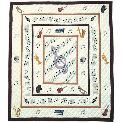 Music Quilt Twin 65 x 85 Inch