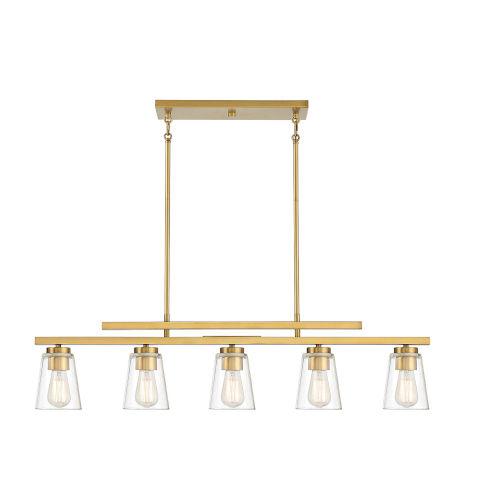 Calhoun Warm Brass Five-Light Mini Chandelier