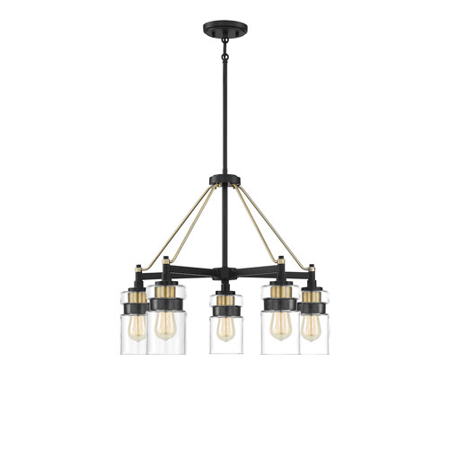 Colfax Bronze with Brass Accents Five-Light Chandelier