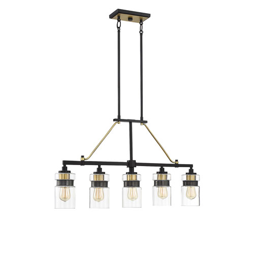 Colfax Bronze with Brass Accents Five-Light Pendant