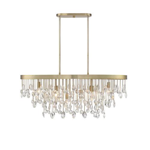 Livorno Noble Brass Eight-Light Linear Chandelier