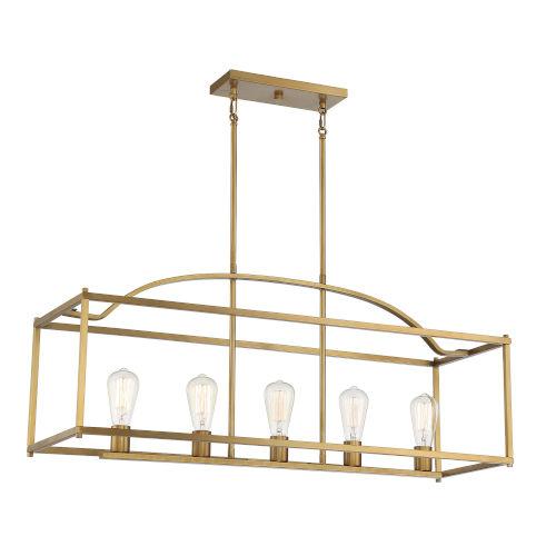 Palladian Warm Brass Five-Light Chandelier