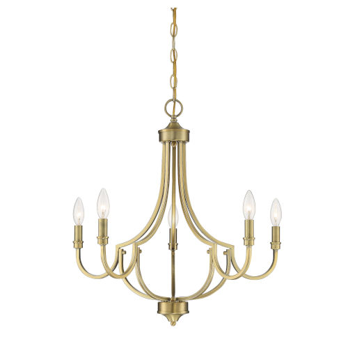 Auburn Warm Brass Five-Light Chandelier