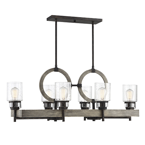 Hartman Noblewood with Iron Six-Light Linear Chandelier