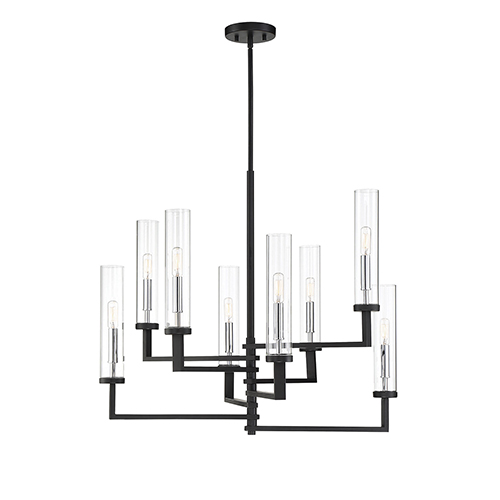 Folsom Matte Black with Polished Chrome Accents Eight-Light Chandelier
