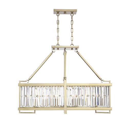 Cologne Noble Brass Eight-Light Linear Chandelier
