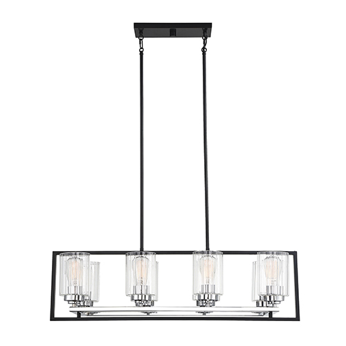 Redmond Matte Black with Polished Chrome Accents Eight-Light Linear Chandelier