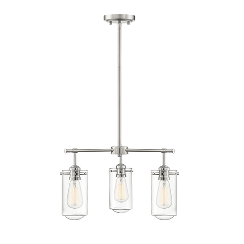 Clayton Satin nickel with Chrome Accents Three-Light Chandelier
