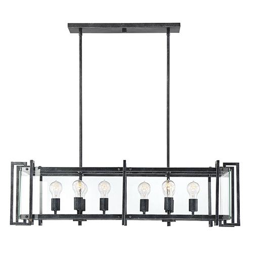 Bennington Black Steel Eight-Light Linear Chandelier