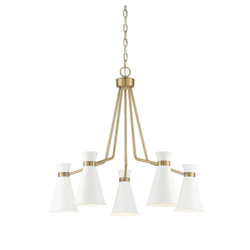 Lamar White and Warm Brass Five-Light Chandelier