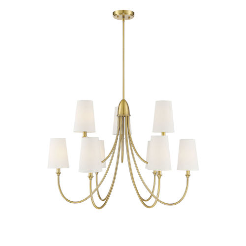 Cameron Warm Brass Nine-Light Chandelier
