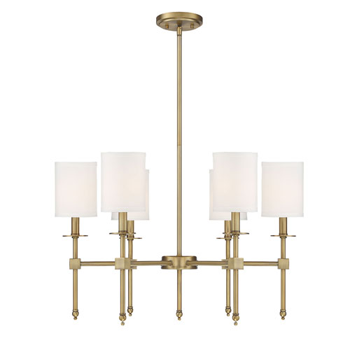 Chatham Warm Brass Six-Light Chandelier