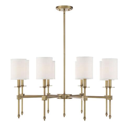 Savoy House Chatham Warm Brass Eight-Light Chandelier