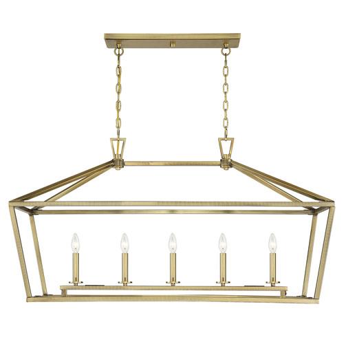 Townsend Warm Brass Five-Light Pendant