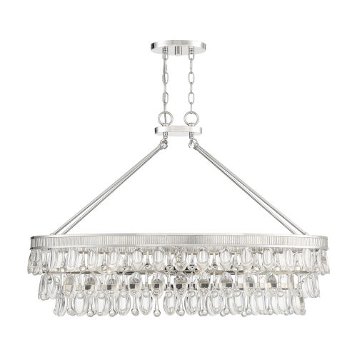 Windham Polished Nickel Eight-Light Linear Chandelier