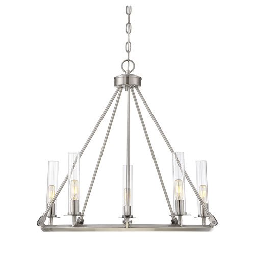 Savoy House Hasting Brushed Pewter Five-Light Chandelier