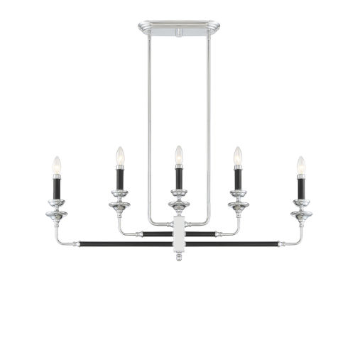 Davidson Black and Chrome Five-Light Linear Chandelier