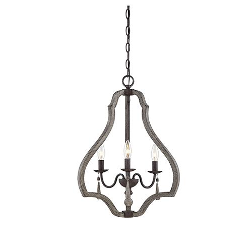 Kenwood Weathered Ash Three-Light Foyer Lantern