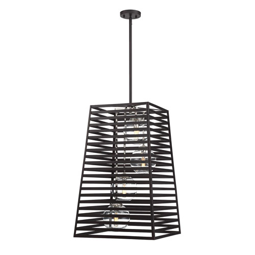 Lakewood Bronze and Stainless Steel Four-Light Pendant