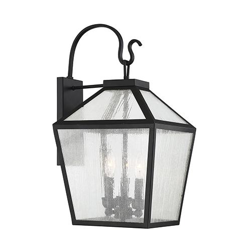 Woodstock Black Three-Light Outdoor Wall Lantern