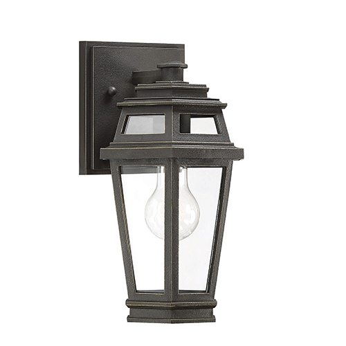 Holbrook Textured Bronze With Gold Highlights One-Light Outdoor Wall Lantern