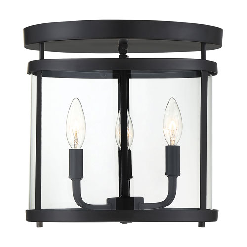 Penrose Black Three-Light Semi-Flush