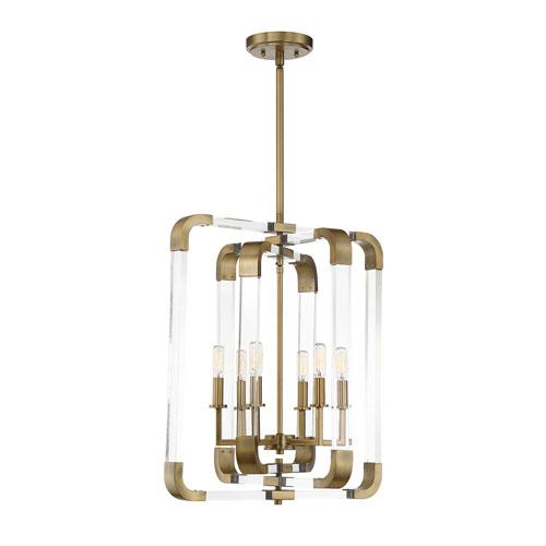 Savoy House Rotterdam Warm Brass Six-Light Chandelier