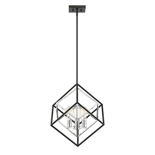 Dexter Matte Black with Polished Chrome Accents Three-Light Pendant