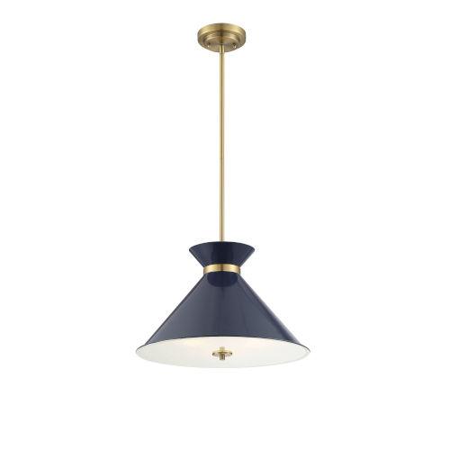 Lamar Navy Blue and Brass Three-Light Pendant